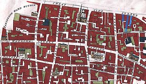 Gropecunt Lane - Image: Bread street ward and Cordwainer ward 1720 john stow with streets highlighted