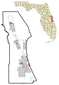 Brevard County Florida Incorporated and Unincorporated areas Melbourne Beach Highlighted.svg