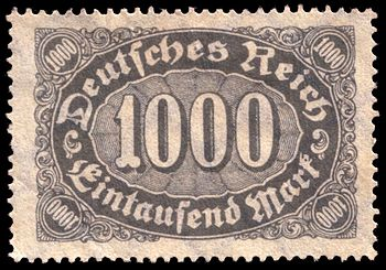 Stamp of the German Empire during the inflatio...