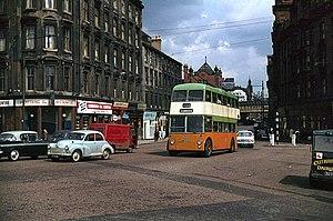 Trolleybuses in Glasgow - TB116 en route to Clarkston, near Victoria Bridge.