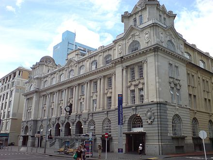 Railway lines serve the western, southern and eastern parts of the city from the Britomart Transport Centre. Britomart Outside Facade.jpg