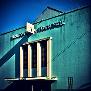 Brunswick Town Hall - Brunswick Town Hall and library, Dawson St façade.