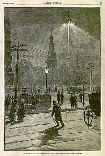 The late 1870s and early 1880s saw the introduction of arc lamp lighting used outdoors or in large indoor spaces such as this Brush Electric Company system installed in 1880 in New York City. Brush Company arc light madison square new york 1882.png