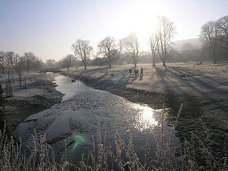River Bulbourne - River Bulbourne further down stream at Boxmoor near Hemel Hempstead, before restoration