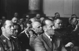 Ernst Kaltenbrunner - Kaltenbrunner (front row, second from left) as spectator at a People's Court show trial following the failed 20 July plot.