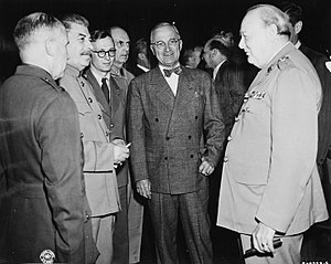 Presidency of Harry S. Truman - Joseph Stalin, Harry S. Truman, and Winston Churchill in Potsdam, July 1945