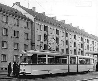 Trams in Potsdam - Image: Bundesarchiv Bild 183 B0407 0029 001, Potsdam, Neubauten am Platz der Einheit (cropped)
