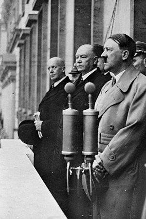 Reich Ministry of Transport - Julius Dorpmüller stands next to Hitler on the balcony of the Reich Chancellery on February 4, 1937, at his appointment as Reich Transport Minister