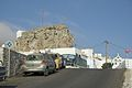 Bus station and the castle, Chora of Amorgos, 084887.jpg
