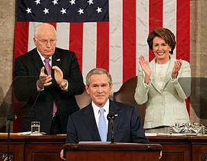 President George W. Bush receives applause whi...