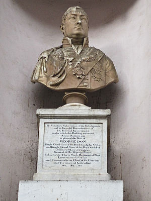 George Don (British Army officer) - Bust of George Don outside the Gibraltar Parliament