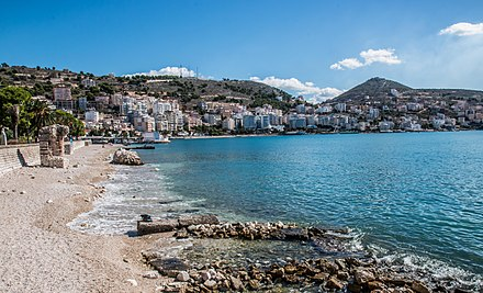 Sarande, Albania, stands on an open-sea gulf of the Ionian sea in the central Mediterranean. CIty of Saranda Albania 2016.jpg