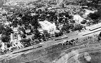 Gambir, Jakarta - An aerial picture of the Gambir station during colonial era