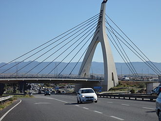 Cable-stayed bridge of the Monserrato University Campus interchange SS 554 Cable-stayed bridge of the Monserrato University Campus interchange.JPG