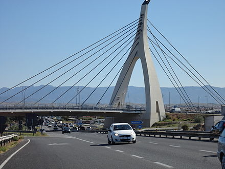 Cable-stayed bridge of the Monserrato University Campus interchange SS 554 - Sardinia
