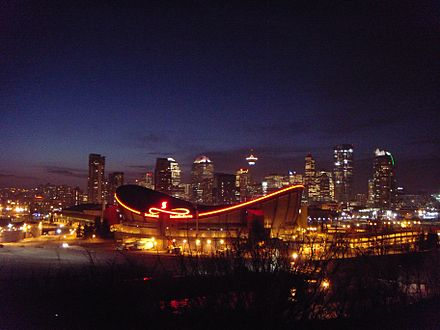 The Scotiabank Saddledome is a multi-use indoor arena and is home to the NHL's Calgary Flames, and the NLL's Calgary Roughnecks. Calgary skyline.jpg