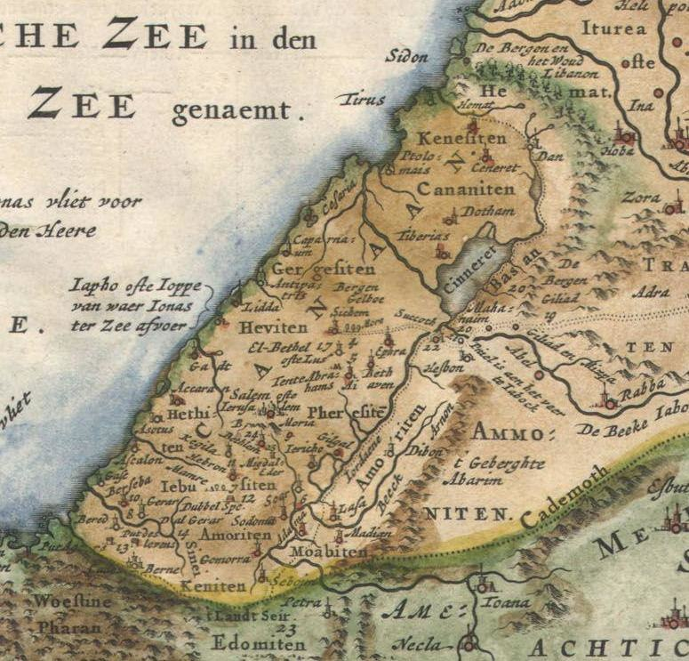 """Canaan. 1657 Visscher Map of the Holy Land or the """"Earthly Paradise"""" - Geographicus - Gelengentheyt-visscher-1657 (cropped)"""