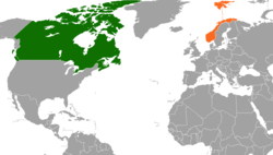 Map indicating locations of Canada and Norway