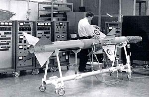 AIM-7 Sparrow - A Sparrow II is tested at a Canadair facility. Note the RCAF roundels painted on the fins.