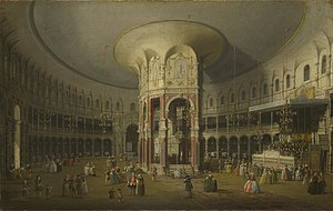 Ranelagh Gardens - The Rotunda at Ranelagh as painted by Canaletto in 1754.