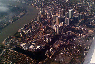 Canary Wharf - Canary Wharf aerial view (2009), from the southeast end of the Isle of Dogs, showing the Millwall Dock.