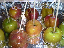 A tray of homemade candied apples