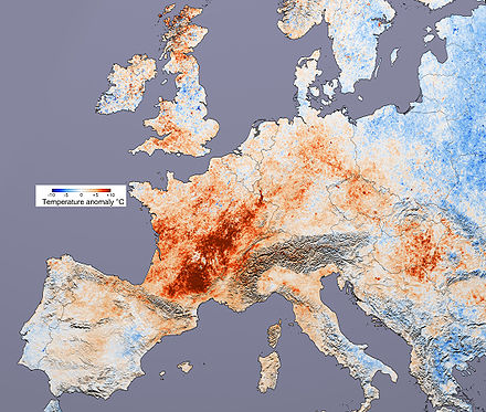 A map indicating above-normal temperatures in Europe in 2003 Canicule Europe 2003.jpg