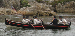 Captain's gig -  A four-oared Russian Navy Gig (Gichka) of Boat Base Monterey re-enacts the landing of Captain Mervine during the annual Sloat's Landing ceremony in Monterey, California, 2013