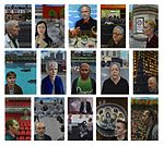 A series of colour oil portraits by artist Carl Randall, of 15 people who have contributed to British culture and society. Each portrait is set against a London backdrop chosen by the sitters