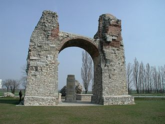 Guido von List - Heidentor, the Pagan Gate at Carnuntum where List buried wine bottles in 1875