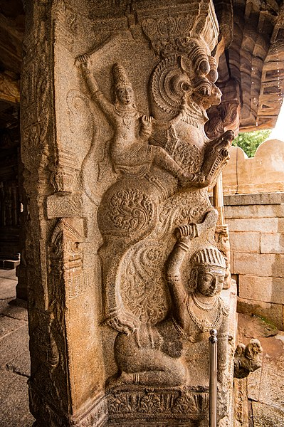 File:Carvings of Vijayanagar period , Veerabhadra Temple, Lepakshi.jpg