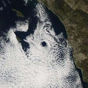 June Gloom - A very well-formed and distinct Catalina eddy directly west of San Diego. Note the marine layer clouds over the land have dissipated.
