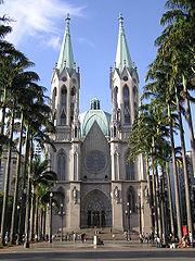 Cathedral of São Paulo, built in the mid 20th century, is one of the world's most recent major buildings in the Gothic style.
