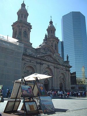Roman Catholic Archdiocese of Santiago de Chile - Metropolitan Cathedral of Santiago in the city's central square.