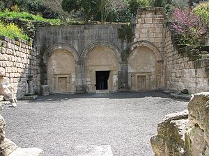 "Judah ha-Nasi - ""Cave of the Coffins"" at Beit She'arim National Park. The traditional burial place of Judah the Prince is in a similar adjacent catacomb."