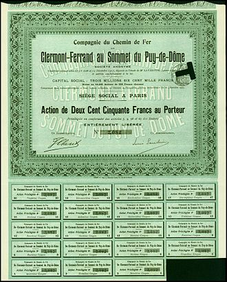 Panoramique des Dômes - Share of the Clermont-Ferrand au Sommet du Puy-de-Dome railway company, issued 12. December 1907