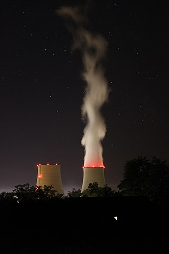 Belleville Nuclear Power Plant - Night view of the cooling tower
