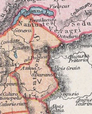 Ceutrones - Map of Provincia Galliae Alpes Graiae et Poeninae occupied by the Ceutrones in about the 1st century AD Note: Lake Geneva is shown at the top