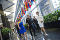 Chairman of the Joint Chiefs of Staff U.S. Army Gen. Martin E. Dempsey, center, and his wife, Deanie, left, attend a reception for foreign defense attaches June 11, 2013, at the Department of State headquarters 130611-D-HU462-005.jpg
