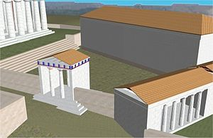 Chalkotheke - Computer-generated reconstruction of the Chalkotheke (blank structure in background). The structure visible on the left is the Parthenon.