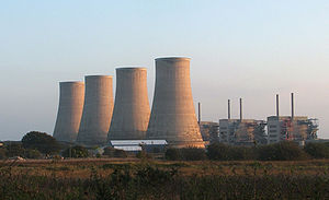 Magnox - Chapelcross before the cooling towers were demolished in 2007