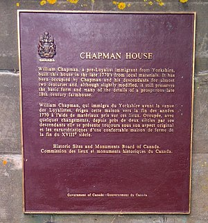 Chapman House (Nova Scotia) - The National Historic Site of Canada plaque at Chapman House.