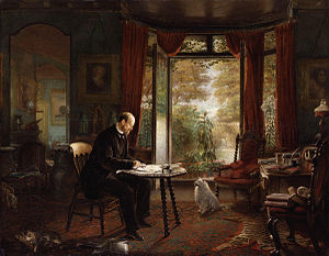 Charles Reade - Charles Reade, portrait of him writing, by Charles Mercier, circa 1870