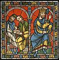Chartres VITRAIL DE LA VIE DE JÉSUS-CHRIST Motiv 05 Le roi Hérode avec les Savants de la synagogue.jpg