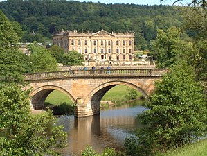 English: The river, bridge and house at Chatsworth