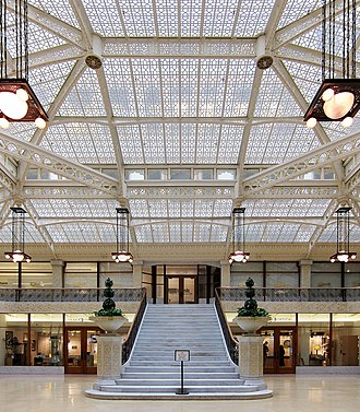 Rookery Building - The Rookery's light court, redesigned by Frank Lloyd Wright in 1905, serves as a focal point for the entire building