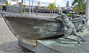 Chicharrero - Sculptural complex called Homenaje al Chicharrero located outside Mercado de Nuestra Señora de África in Santa Cruz de Tenerife.