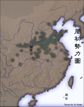 绿色部分为西周疆域。