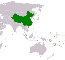 Map indicating locations of China and Kiribati