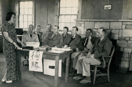 Yang Lingfu, former curator of the National Museum of China, giving Chinese language instruction at the Civil Affairs Staging Area in 1945. Chinese Language Training at CASA.PNG